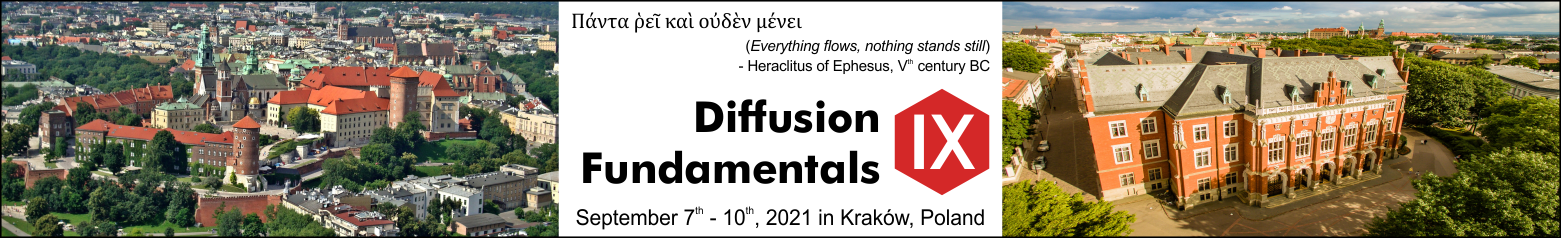 Diffusion Fundamentals conference logo with motto, dates and photo of Wawel Castle and Collegium Novum